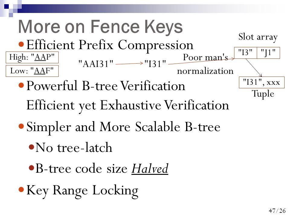 47/26 More on Fence Keys Efficient Prefix Compression Powerful B-tree Verification Efficient yet Exhaustive Verification Simpler and More Scalable B-tree No tree-latch B-tree code size Halved Key Range Locking High: AAP Low: AAF AAI31 I31 I3 J1 Slot array Poor man s normalization I31 , xxx Tuple