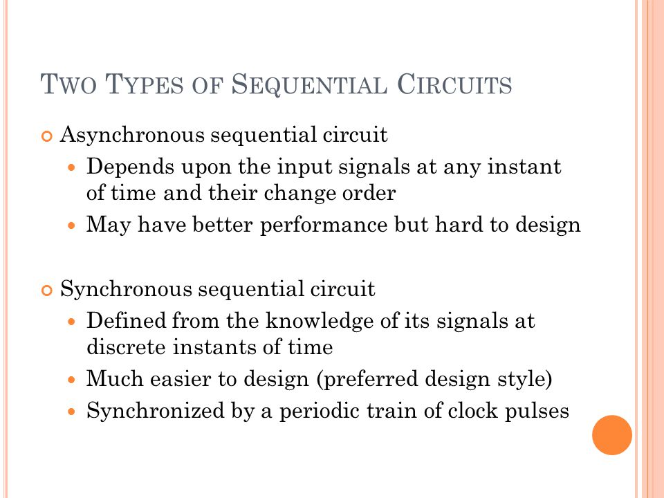 T WO T YPES OF S EQUENTIAL C IRCUITS Asynchronous sequential circuit Depends upon the input signals at any instant of time and their change order May have better performance but hard to design Synchronous sequential circuit Defined from the knowledge of its signals at discrete instants of time Much easier to design (preferred design style) Synchronized by a periodic train of clock pulses