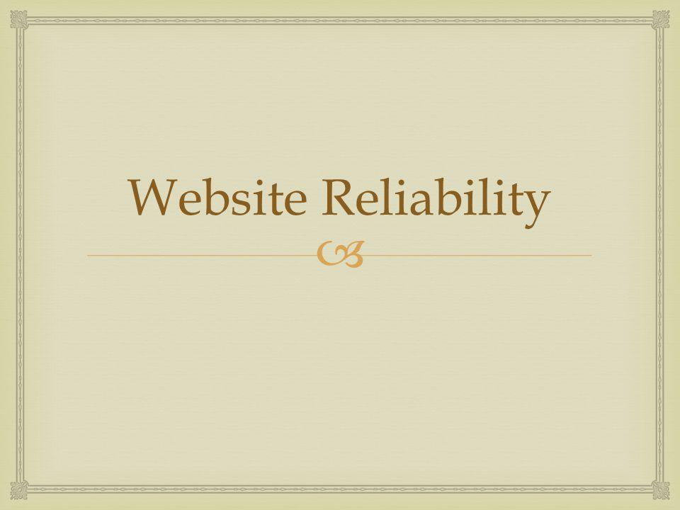  Website Reliability