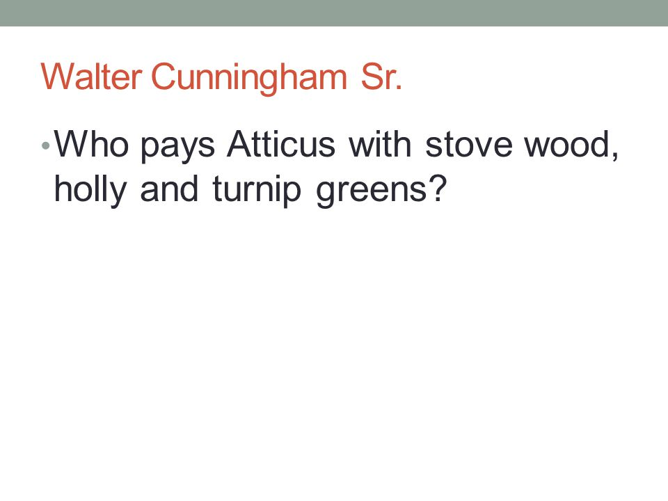 Walter Cunningham Sr. Who pays Atticus with stove wood, holly and turnip greens?