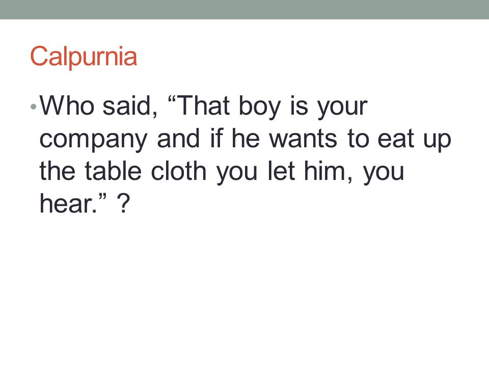 """Calpurnia Who said, """"That boy is your company and if he wants to eat up the table cloth you let him, you hear."""" ?"""