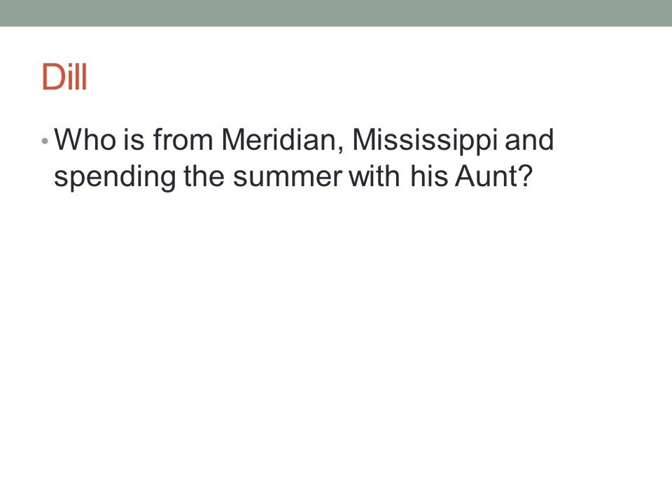 Dill Who is from Meridian, Mississippi and spending the summer with his Aunt?