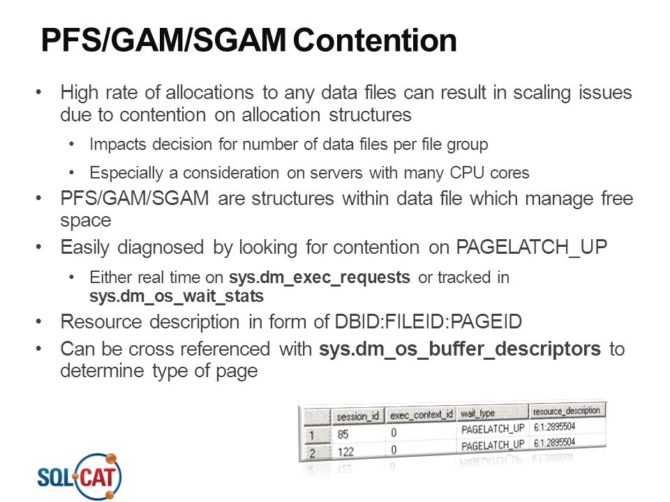 PFS/GAM/SGAM Contention High rate of allocations to any data files can result in scaling issues due to contention on allocation structures Impacts dec