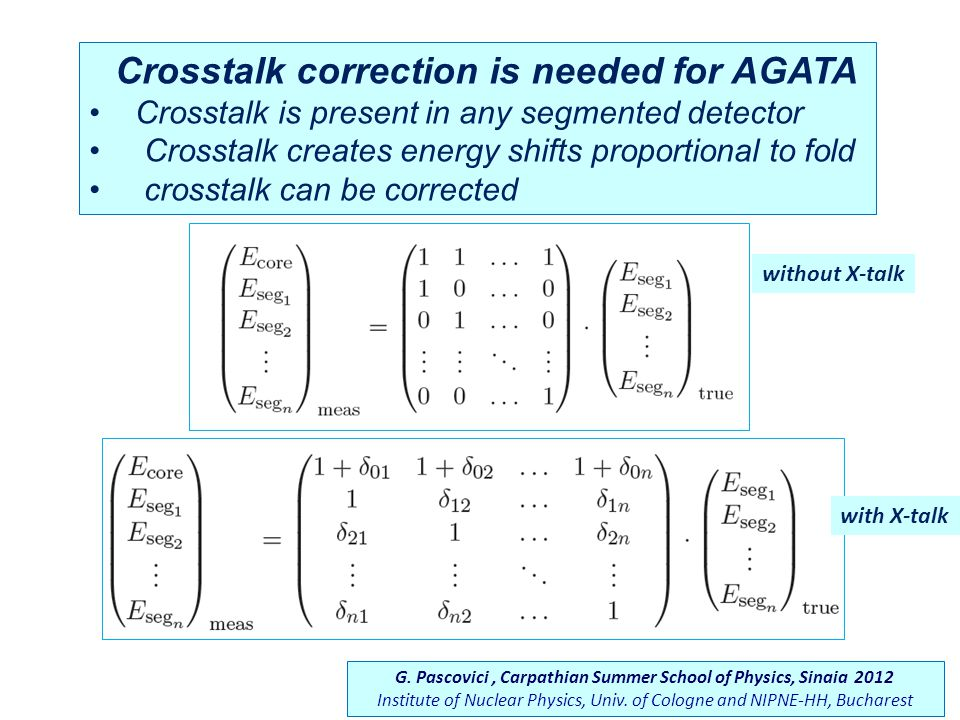Crosstalk correction is needed for AGATA Crosstalk is present in any segmented detector Crosstalk creates energy shifts proportional to fold crosstalk can be corrected without X-talk with X-talk G.