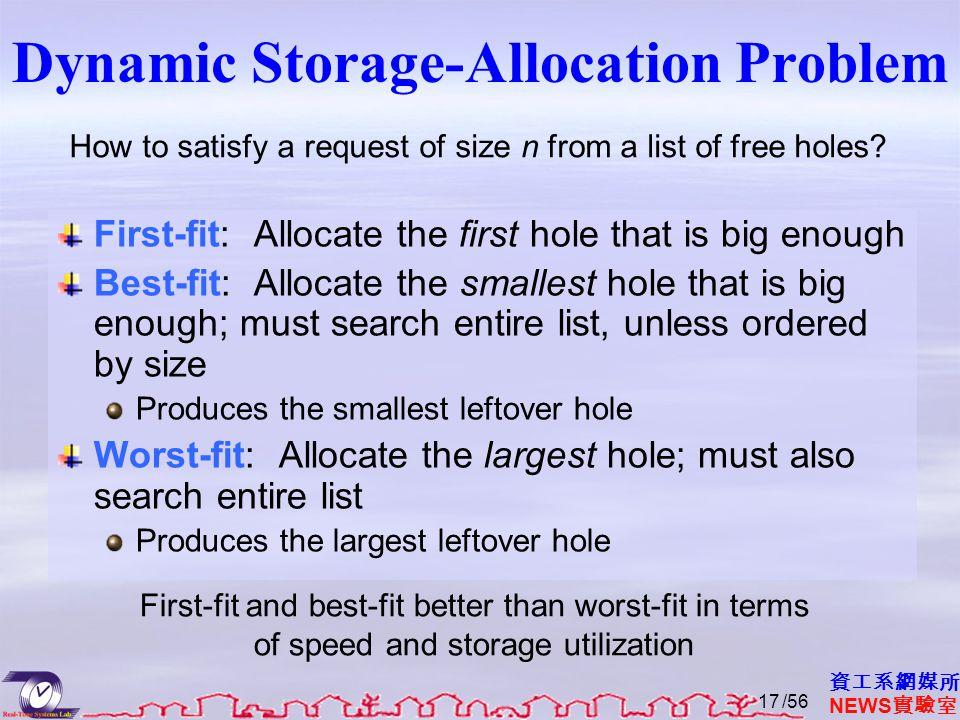 資工系網媒所 NEWS 實驗室 Dynamic Storage-Allocation Problem First-fit: Allocate the first hole that is big enough Best-fit: Allocate the smallest hole that is