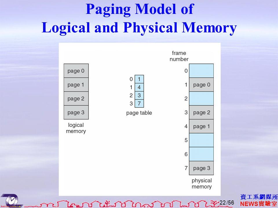 資工系網媒所 NEWS 實驗室 Paging Model of Logical and Physical Memory /5622