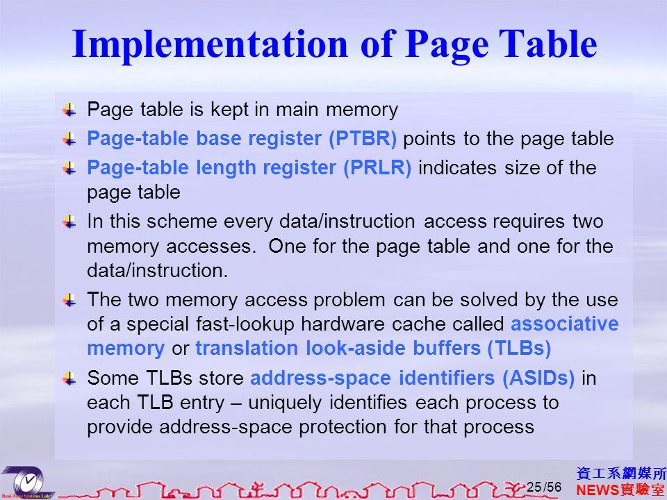 資工系網媒所 NEWS 實驗室 Implementation of Page Table Page table is kept in main memory Page-table base register (PTBR) points to the page table Page-table length register (PRLR) indicates size of the page table In this scheme every data/instruction access requires two memory accesses.
