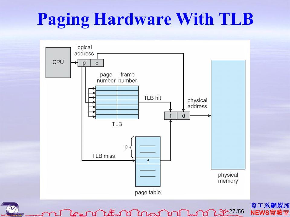 資工系網媒所 NEWS 實驗室 Paging Hardware With TLB /5627