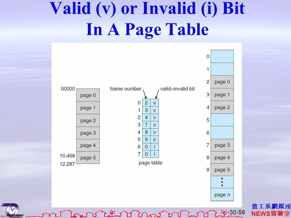 資工系網媒所 NEWS 實驗室 Valid (v) or Invalid (i) Bit In A Page Table /5630