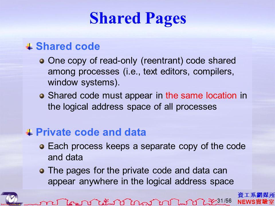 資工系網媒所 NEWS 實驗室 Shared Pages Shared code One copy of read-only (reentrant) code shared among processes (i.e., text editors, compilers, window systems).
