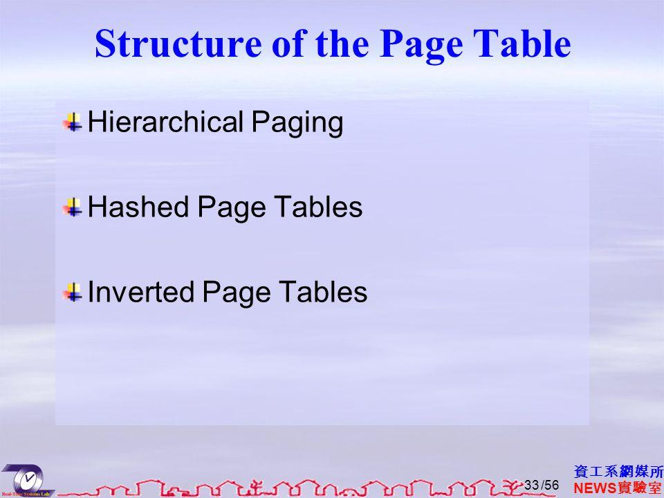 資工系網媒所 NEWS 實驗室 Structure of the Page Table Hierarchical Paging Hashed Page Tables Inverted Page Tables /5633
