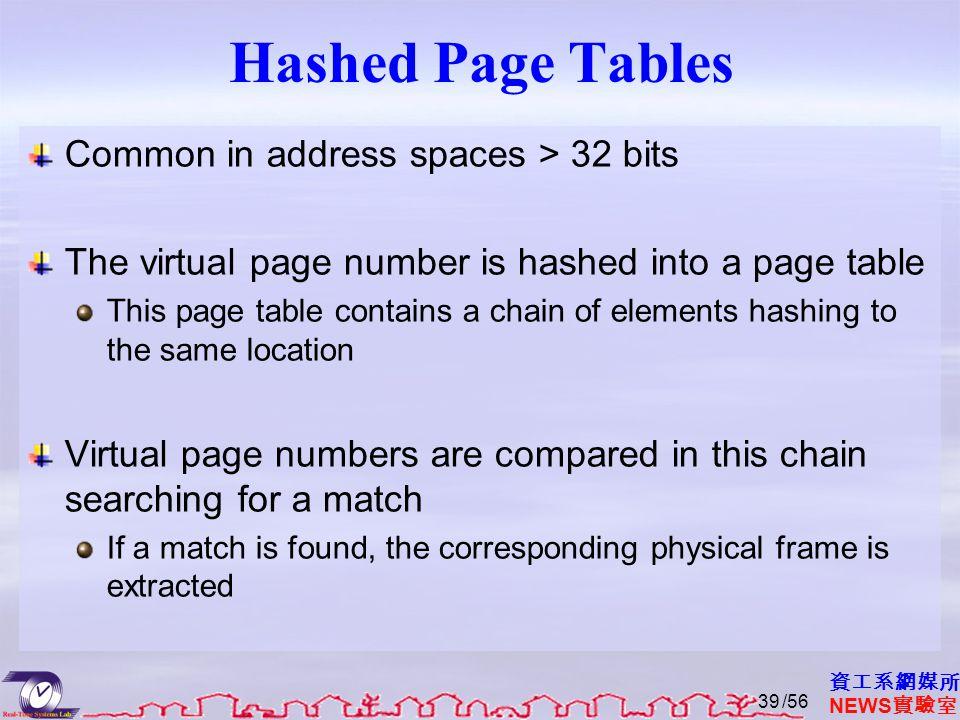 資工系網媒所 NEWS 實驗室 Hashed Page Tables Common in address spaces > 32 bits The virtual page number is hashed into a page table This page table contains a c