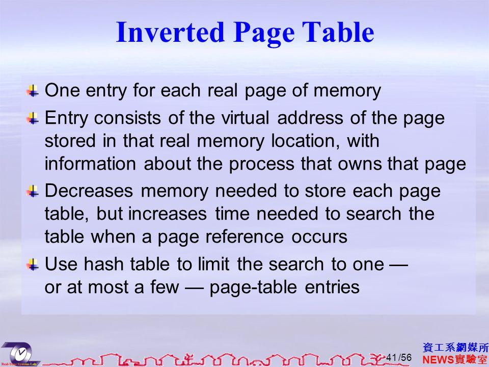 資工系網媒所 NEWS 實驗室 Inverted Page Table One entry for each real page of memory Entry consists of the virtual address of the page stored in that real memor