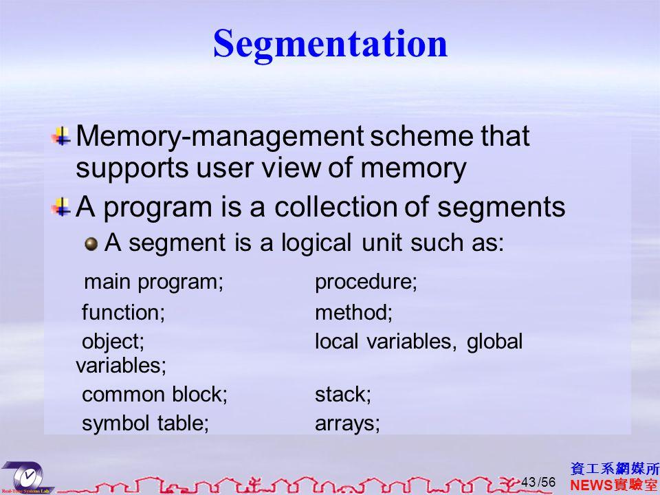 資工系網媒所 NEWS 實驗室 Segmentation Memory-management scheme that supports user view of memory A program is a collection of segments A segment is a logical unit such as: main program;procedure; function;method; object;local variables, global variables; common block;stack; symbol table;arrays; /5643