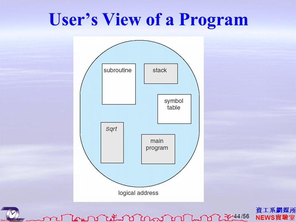 資工系網媒所 NEWS 實驗室 User's View of a Program /5644