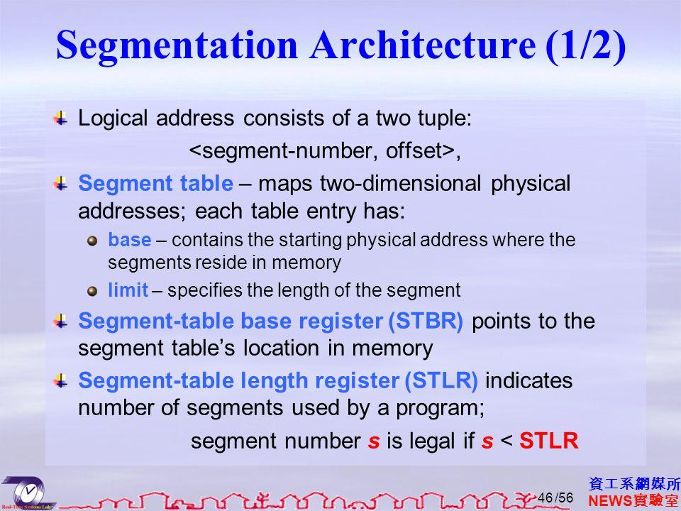 資工系網媒所 NEWS 實驗室 Segmentation Architecture (1/2) Logical address consists of a two tuple:, Segment table – maps two-dimensional physical addresses; each table entry has: base – contains the starting physical address where the segments reside in memory limit – specifies the length of the segment Segment-table base register (STBR) points to the segment table's location in memory Segment-table length register (STLR) indicates number of segments used by a program; segment number s is legal if s < STLR /5646