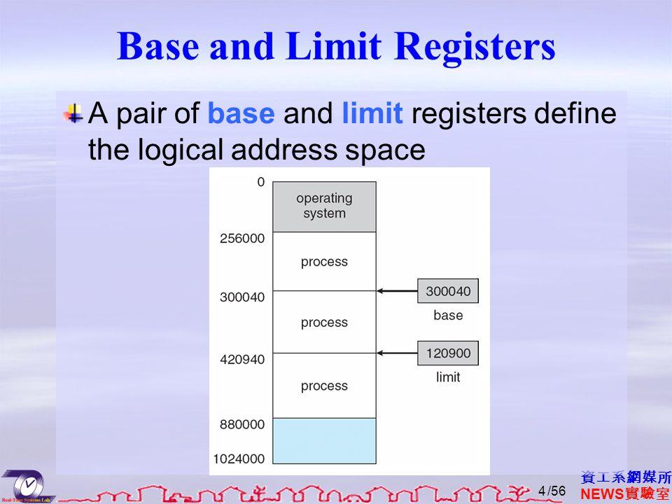 資工系網媒所 NEWS 實驗室 A pair of base and limit registers define the logical address space Base and Limit Registers /564