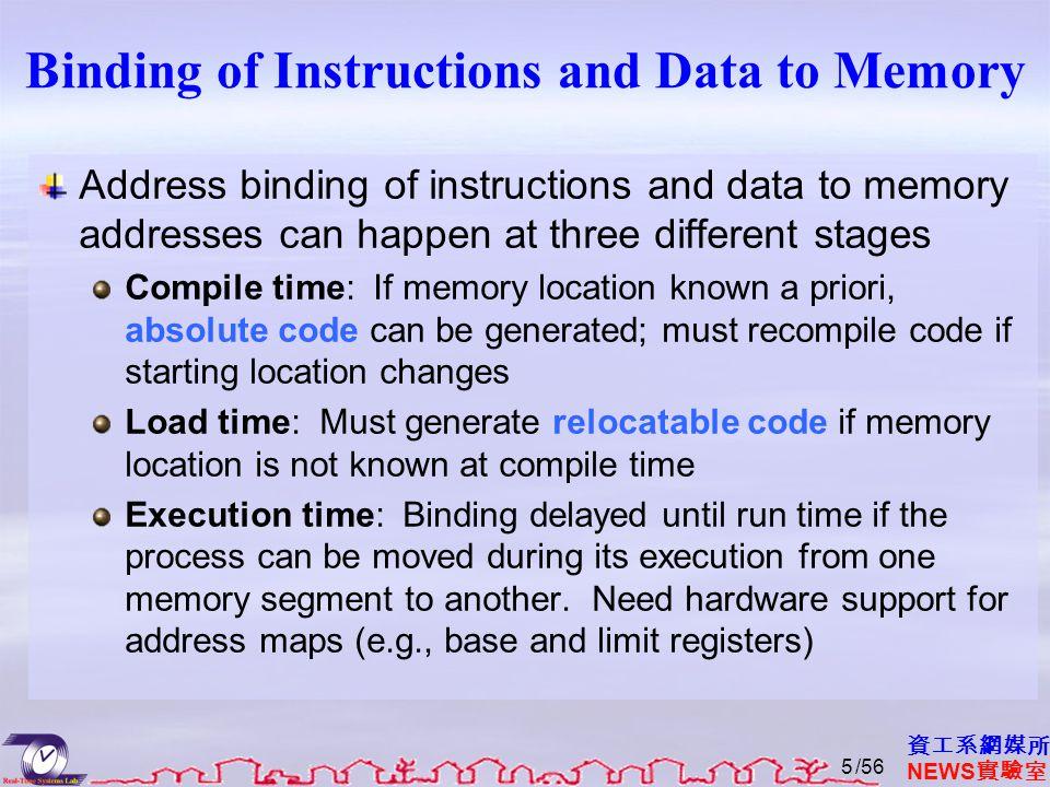 資工系網媒所 NEWS 實驗室 Binding of Instructions and Data to Memory Address binding of instructions and data to memory addresses can happen at three different