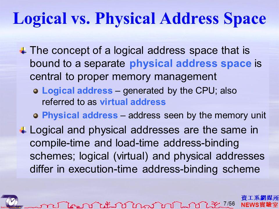 資工系網媒所 NEWS 實驗室 Logical vs. Physical Address Space The concept of a logical address space that is bound to a separate physical address space is centra