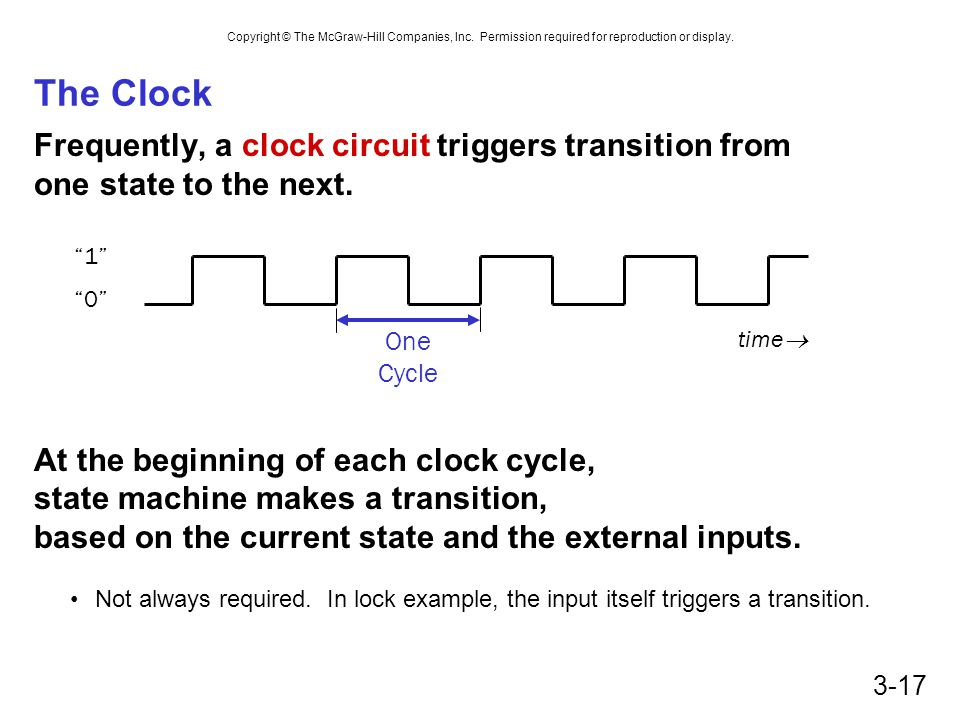 Copyright © The McGraw-Hill Companies, Inc. Permission required for reproduction or display. 3-17 The Clock Frequently, a clock circuit triggers trans