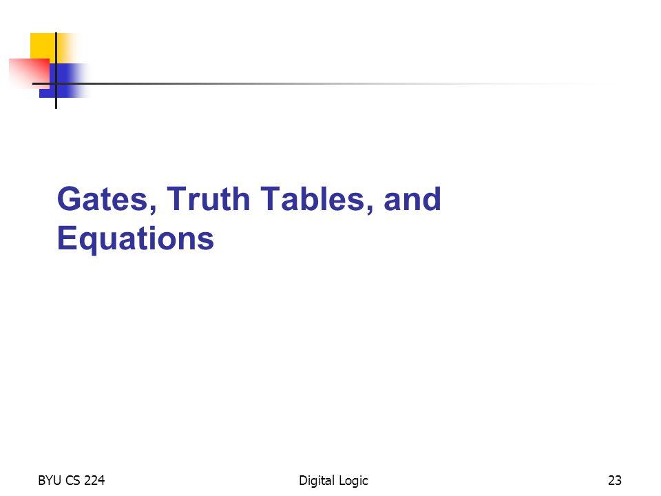 Gates, Truth Tables, and Equations BYU CS 224Digital Logic23