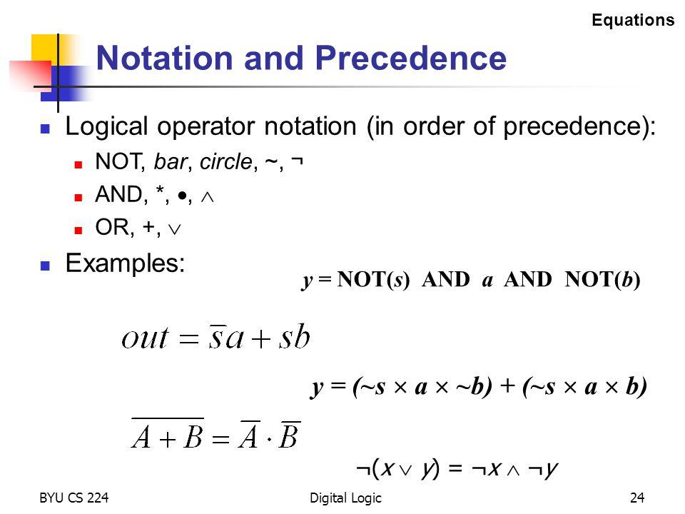BYU CS 224Digital Logic24 Notation and Precedence Logical operator notation (in order of precedence): NOT, bar, circle, ~, ¬ AND, *, ,  OR, +,  Exa