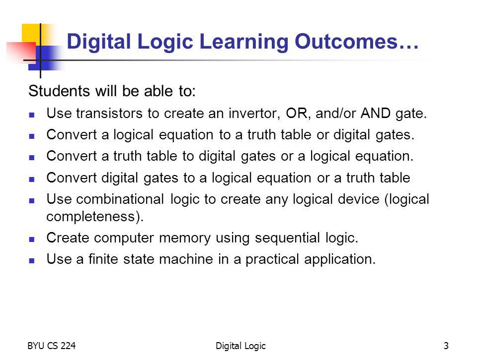 BYU CS 224Digital Logic64 FSM Implementation Combinational logic Determine outputs and next state.