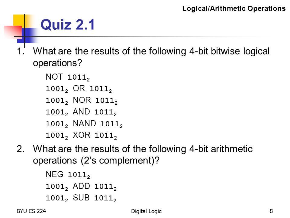 BYU CS 224Digital Logic19 The NAND Gate ( NOT-AND ) on off on 1 1 0 11 0 1 0 1 11 0 off on b a 11 0 NAND Digital Logic Devices abNAND 001 011 101 110