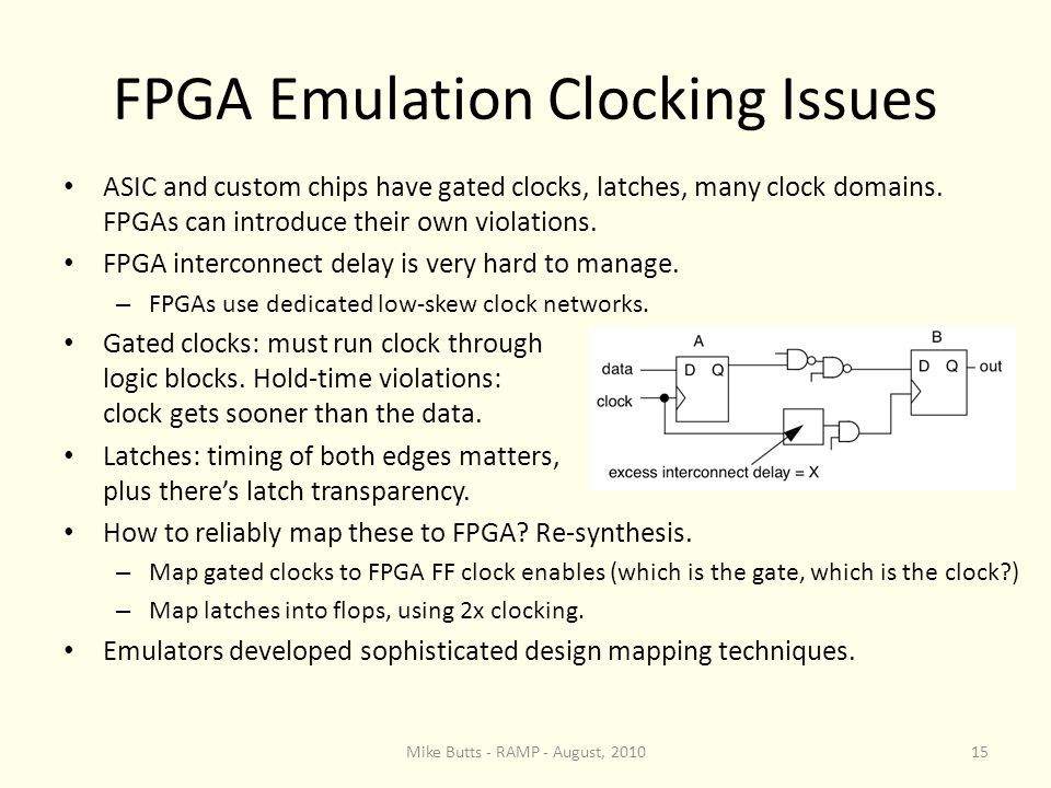 FPGA Emulation Clocking Issues ASIC and custom chips have gated clocks, latches, many clock domains.