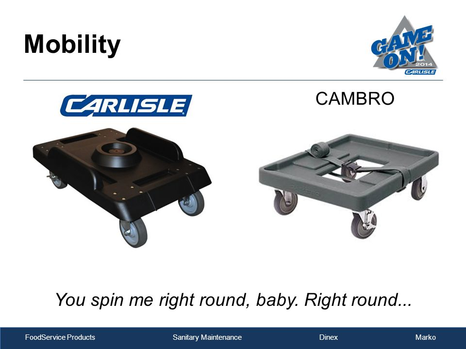 FoodService Products Sanitary Maintenance Dinex Marko Mobility You spin me right round, baby. Right round... CAMBRO