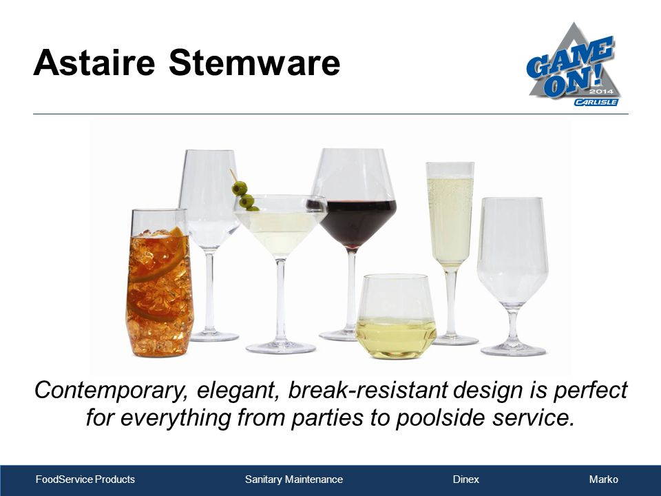 FoodService Products Sanitary Maintenance Dinex Marko Astaire Stemware Contemporary, elegant, break-resistant design is perfect for everything from pa