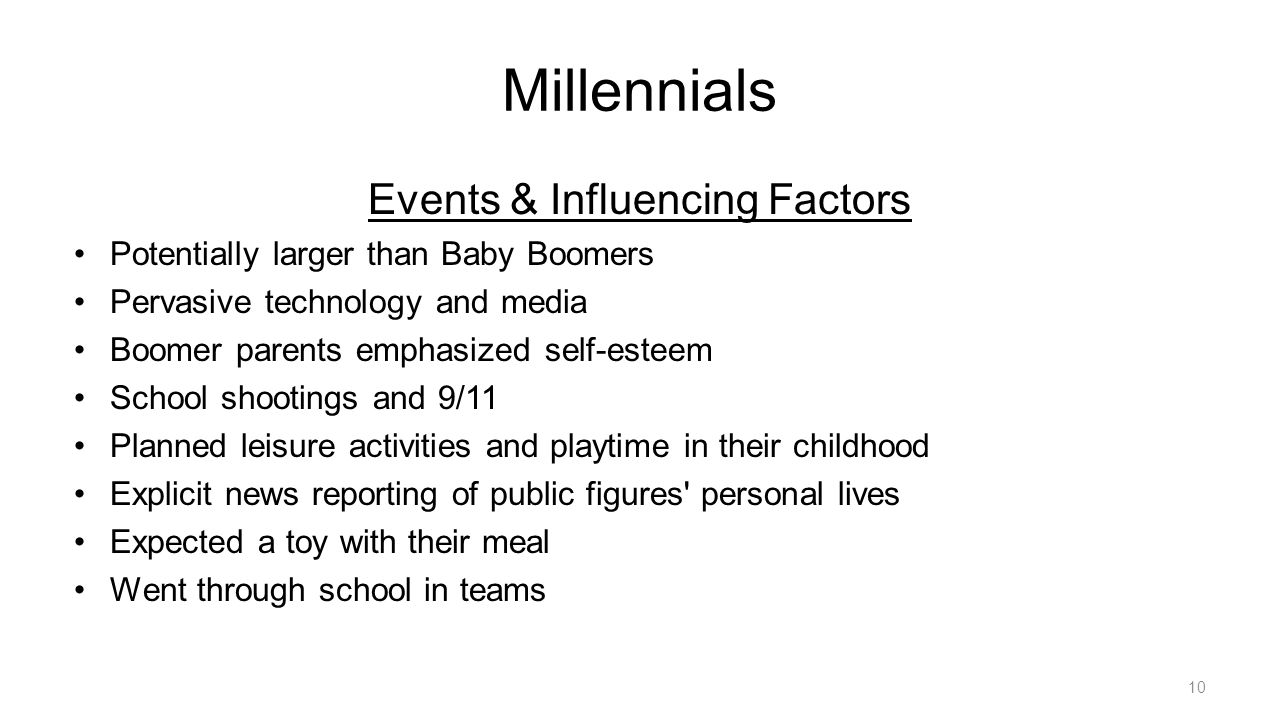 Millennials Events & Influencing Factors Potentially larger than Baby Boomers Pervasive technology and media Boomer parents emphasized self-esteem School shootings and 9/11 Planned leisure activities and playtime in their childhood Explicit news reporting of public figures personal lives Expected a toy with their meal Went through school in teams 10
