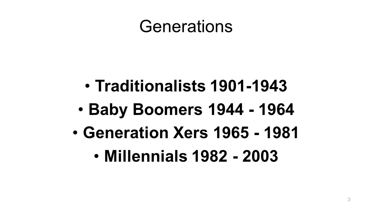 Generations Traditionalists 1901-1943 Baby Boomers 1944 - 1964 Generation Xers 1965 - 1981 Millennials 1982 - 2003 3