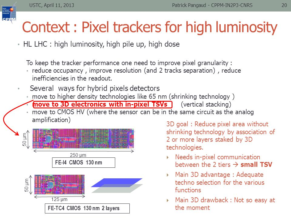 Context : Pixel trackers for high luminosity HL LHC : high luminosity, high pile up, high dose To keep the tracker performance one need to improve pixel granularity : reduce occupancy, improve resolution (and 2 tracks separation), reduce inefficiencies in the readout.