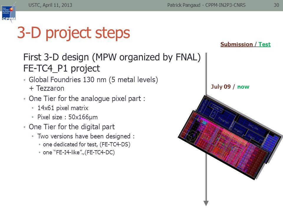 3-D project steps First 3-D design (MPW organized by FNAL) FE-TC4_P1 project Global Foundries 130 nm (5 metal levels) + Tezzaron One Tier for the analogue pixel part : 14x61 pixel matrix Pixel size : 50x166µm One Tier for the digital part Two versions have been designed : one dedicated for test, (FE-TC4-DS) one FE-I4-like .,(FE-TC4-DC) USTC, April 11, 2013Patrick Pangaud - CPPM-IN2P3-CNRS30 July 09 / now Submission / Test