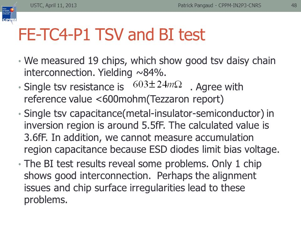 FE-TC4-P1 TSV and BI test We measured 19 chips, which show good tsv daisy chain interconnection.