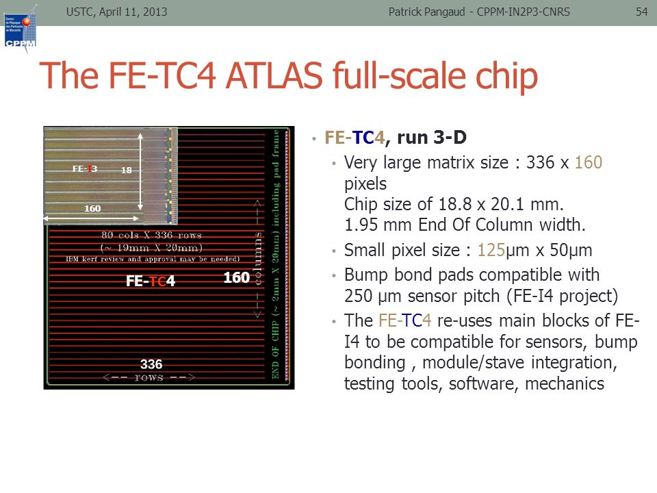 The FE-TC4 ATLAS full-scale chip USTC, April 11, 2013Patrick Pangaud - CPPM-IN2P3-CNRS54 FE-TC4, run 3-D Very large matrix size : 336 x 160 pixels Chip size of 18.8 x 20.1 mm.