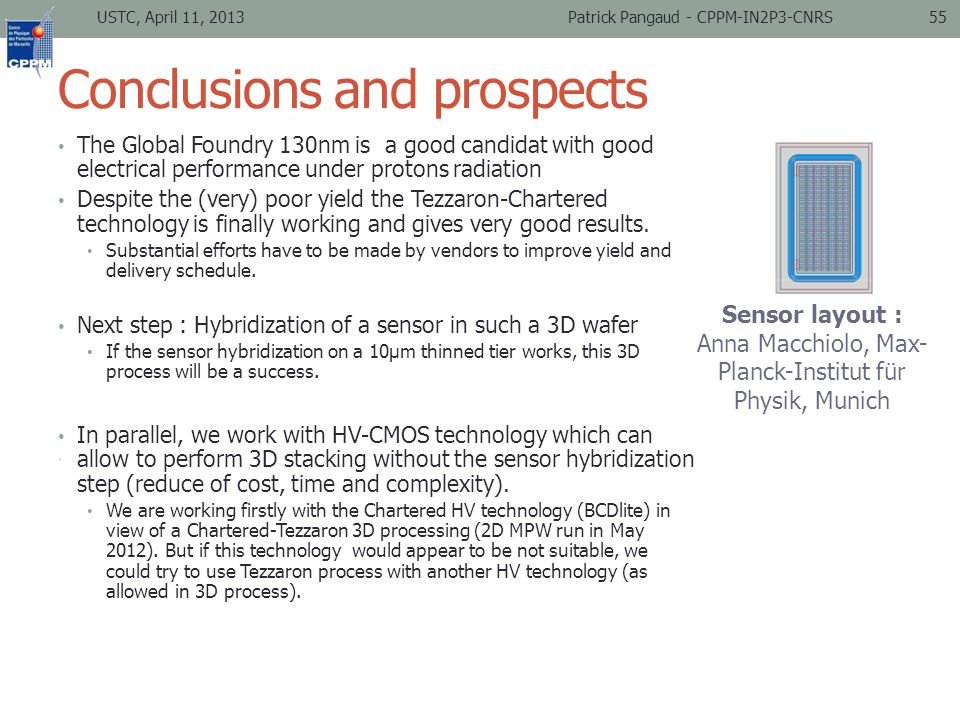 Conclusions and prospects The Global Foundry 130nm is a good candidat with good electrical performance under protons radiation Despite the (very) poor yield the Tezzaron-Chartered technology is finally working and gives very good results.