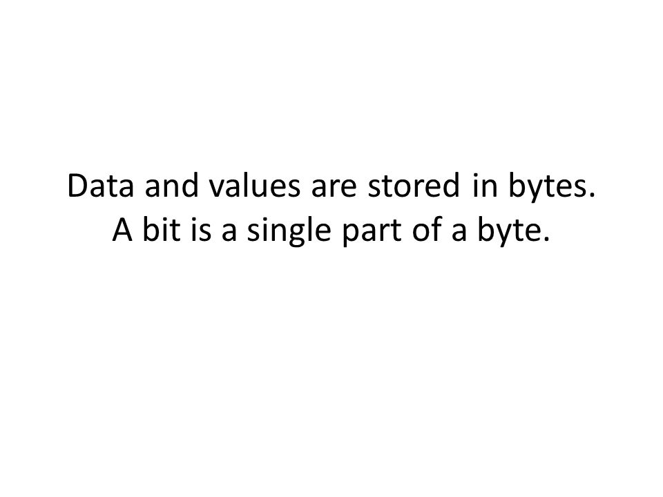 Data and values are stored in bytes. A bit is a single part of a byte.