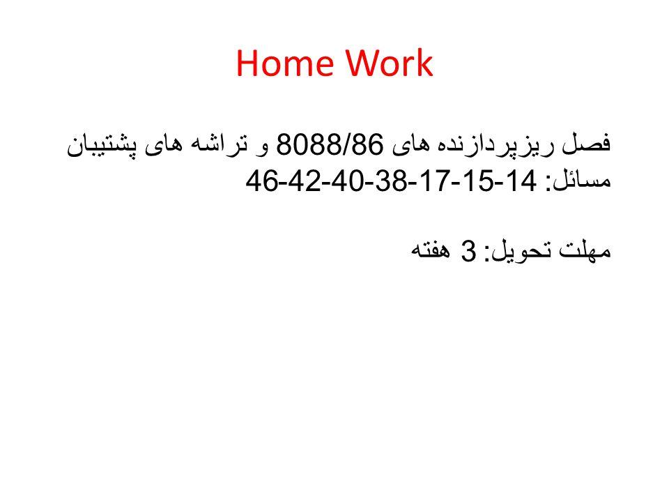 Home Work فصل ریزپردازنده های 8088/86 و تراشه های پشتیبان مسائل : 14-15-17-38-40-42-46 مهلت تحویل : 3 هفته