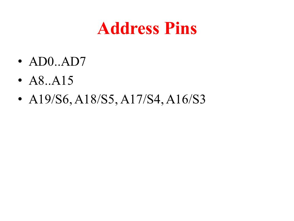 Address Pins AD0..AD7 A8..A15 A19/S6, A18/S5, A17/S4, A16/S3