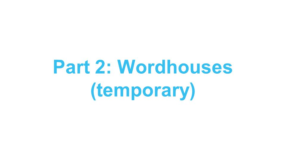 Part 2: Wordhouses (temporary)