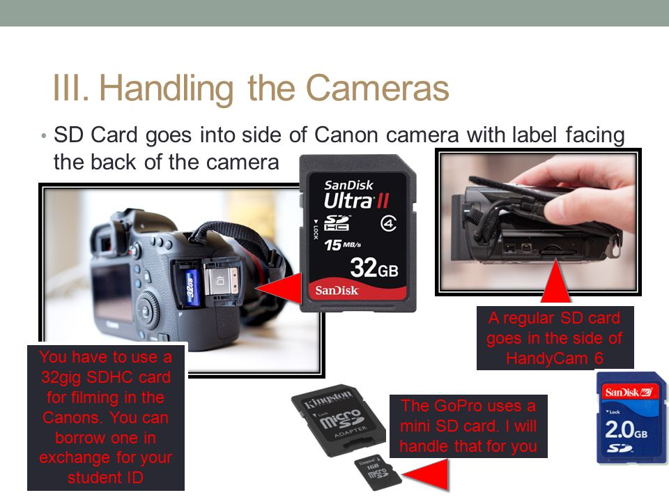 SD Card goes into side of Canon camera with label facing the back of the camera III. Handling the Cameras You have to use a 32gig SDHC card for filmin