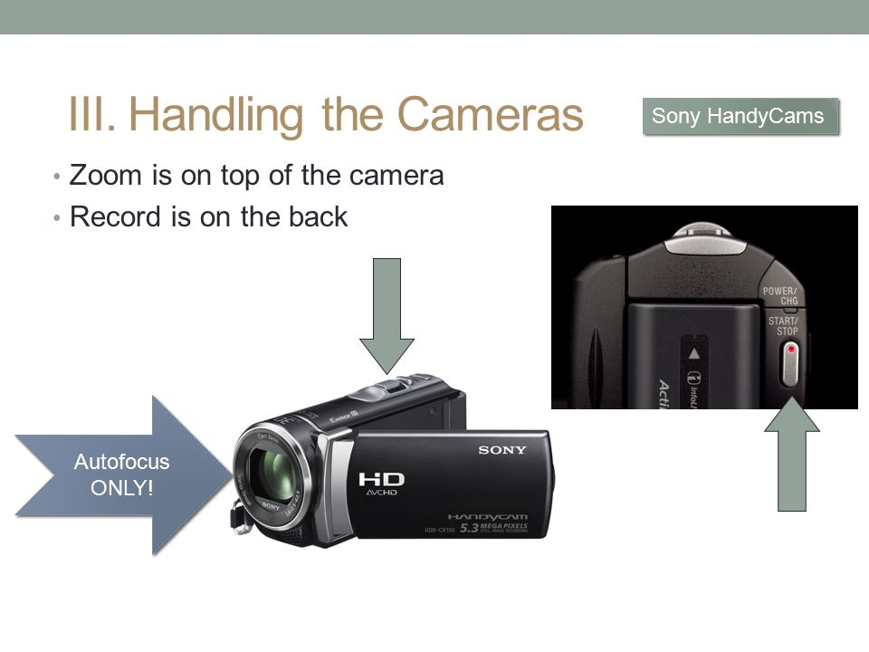 Zoom is on top of the camera Record is on the back Sony HandyCams III.