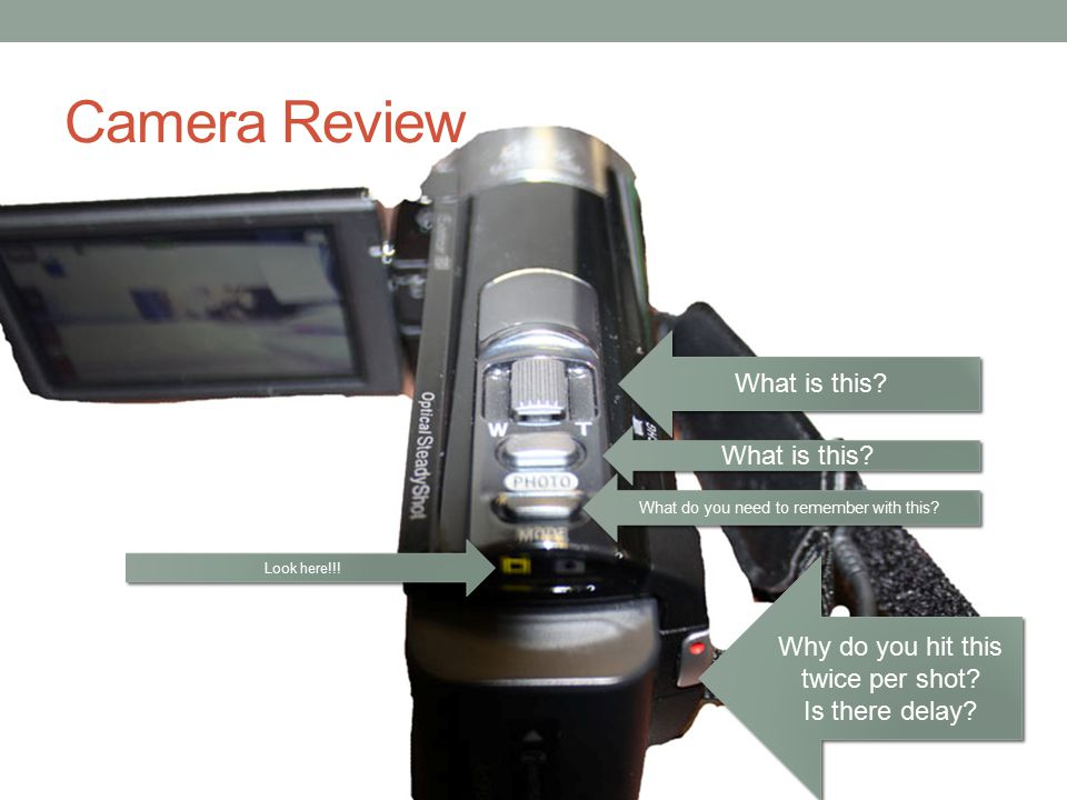 Camera Review What is this? What do you need to remember with this? Look here!!! Why do you hit this twice per shot? Is there delay? Why do you hit th