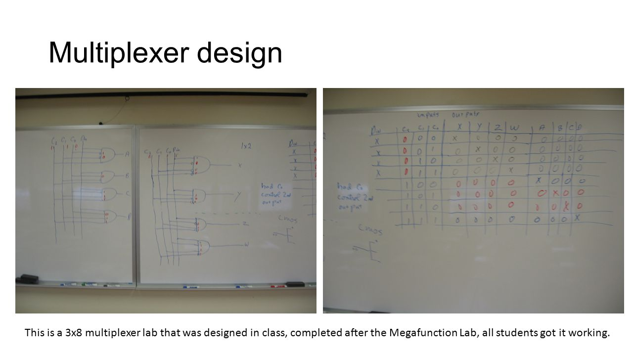 Multiplexer design This is a 3x8 multiplexer lab that was designed in class, completed after the Megafunction Lab, all students got it working.
