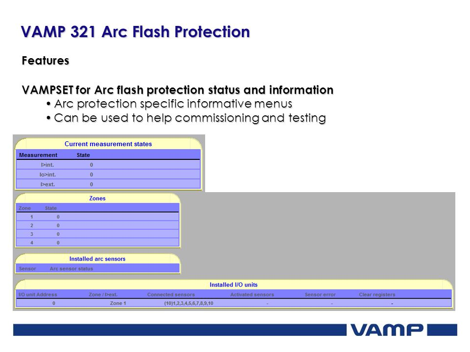 VAMP 321 Arc Flash Protection Features VAMPSET for Arc flash protection status and information Arc protection specific informative menusArc protection