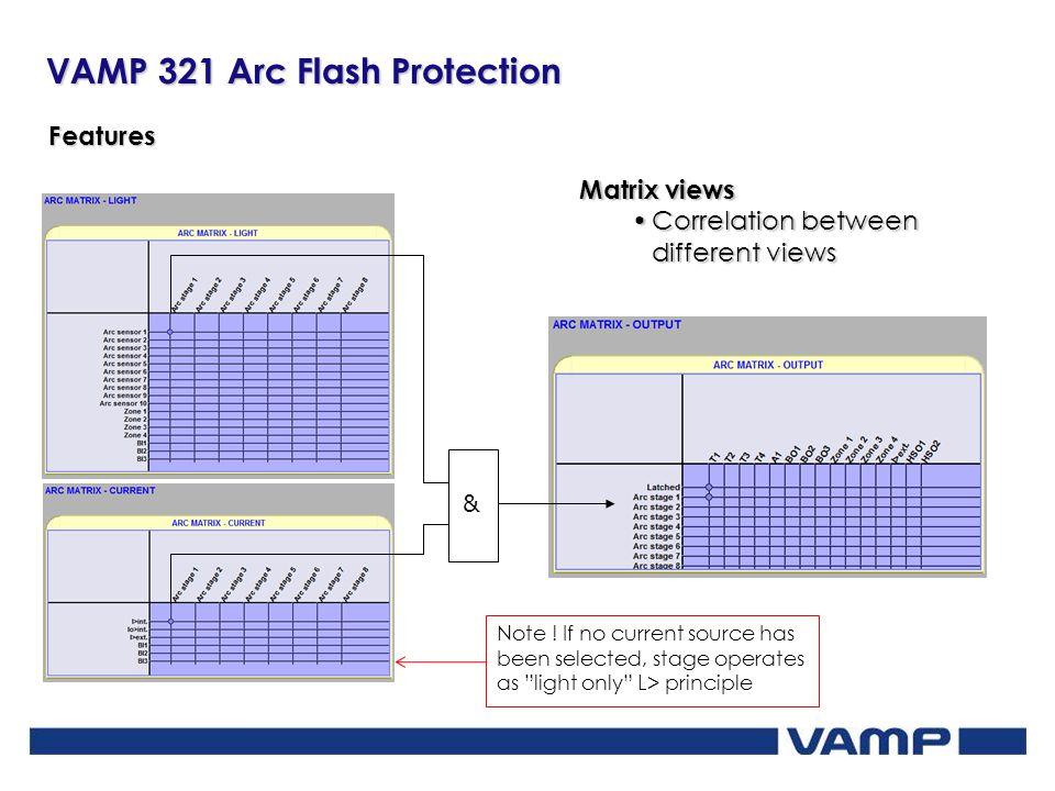 VAMP 321 Arc Flash Protection Features Matrix views Correlation between different viewsCorrelation between different views & Note ! If no current sour