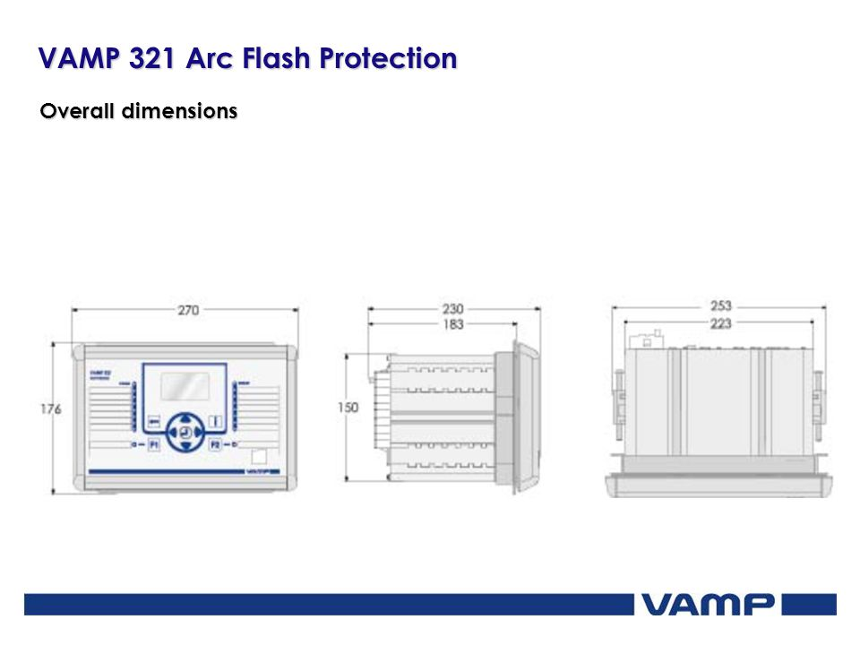 VAMP 321 Arc Flash Protection Overall dimensions