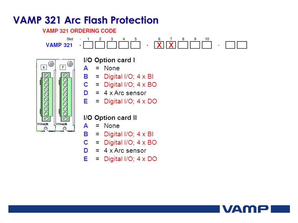 VAMP 321 Arc Flash Protection XX I/O Option card I A=None B=Digital I/O; 4 x BI C=Digital I/O; 4 x BO D=4 x Arc sensor E=Digital I/O; 4 x DO I/O Optio